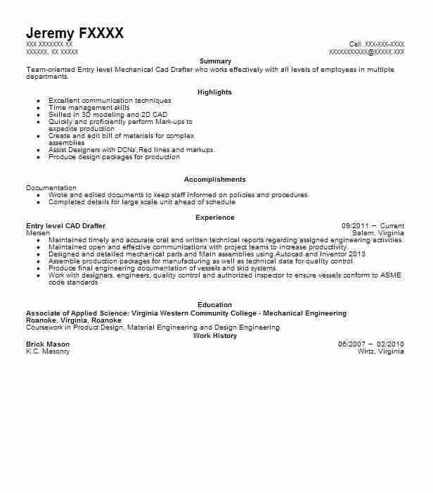 Cad Drafter Resume Sample