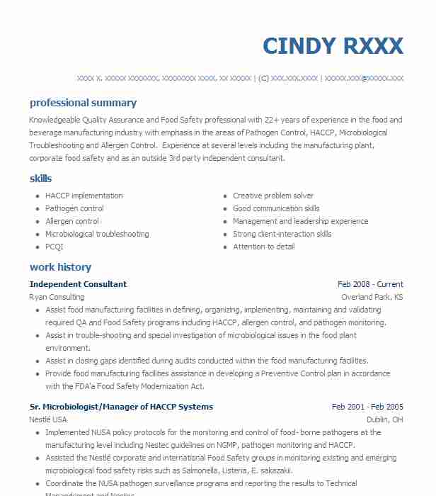 Independent Consultant Resume Example (Ryan Consulting) - Overland ...