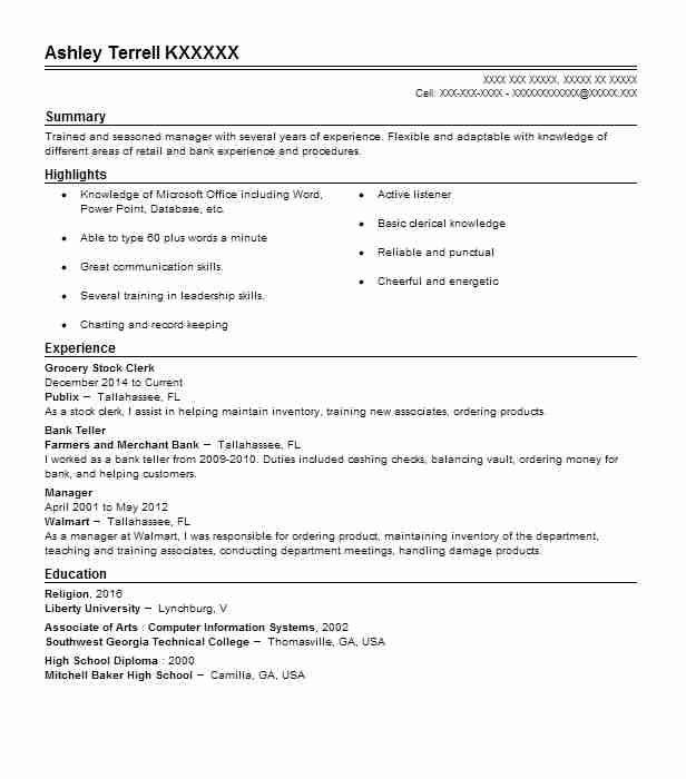 grocery stock clerk resume sample