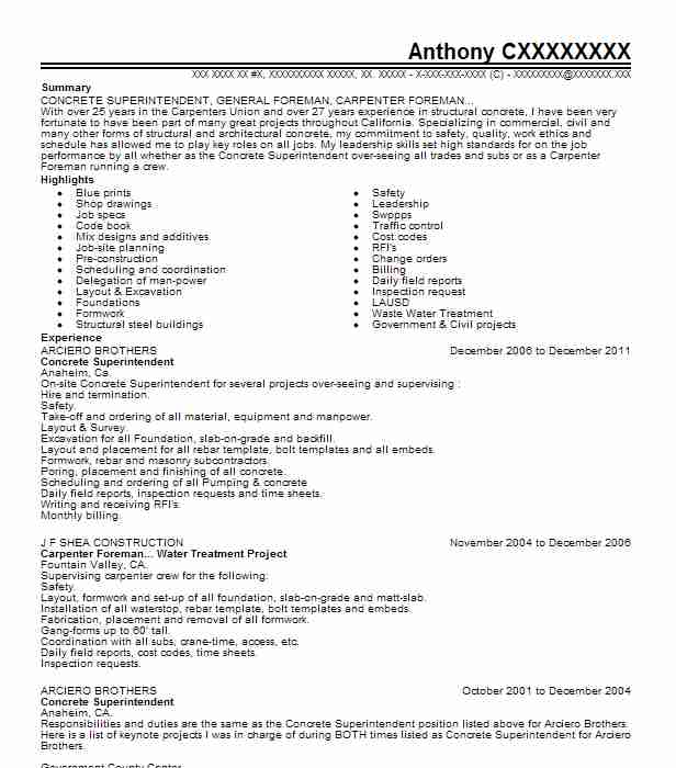 concrete foreman resume example kinney construction