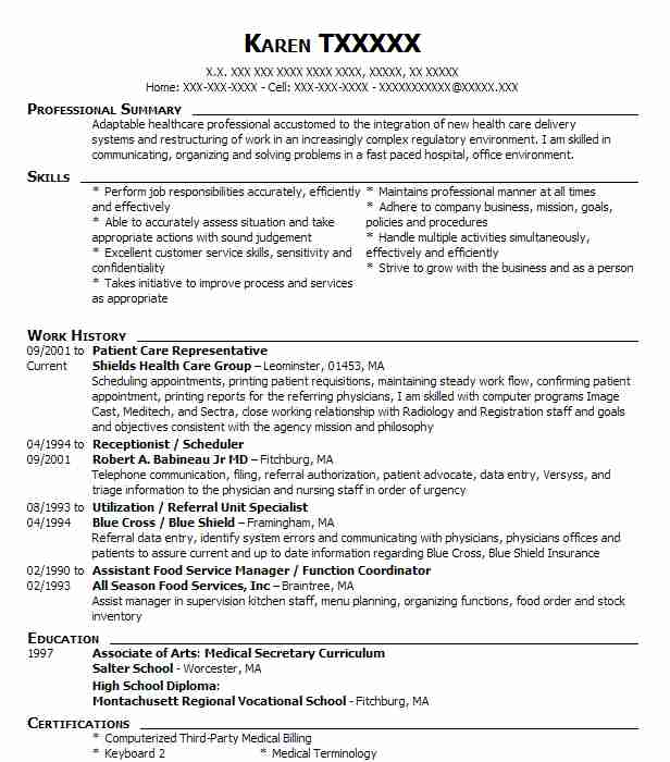 Patient Care Representative  Healthcare Management Resume