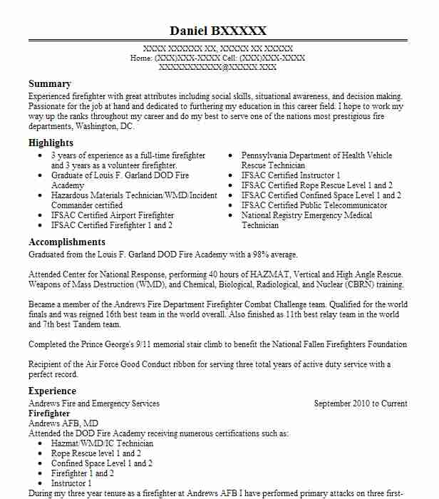 firefighter resume example andrews fire and emergency services