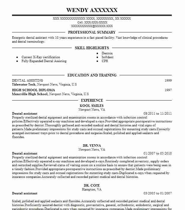 dental assistant resume example (kool smiles) - yorktown, virginia