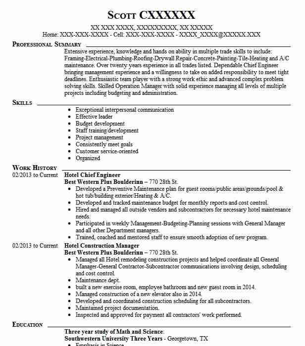 hotel chief engineer resume sample