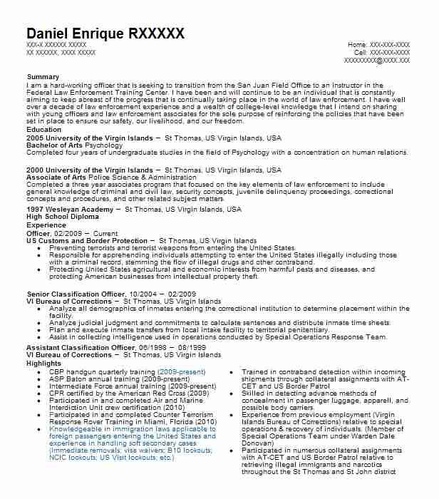 Customs and border protection officer resume sample