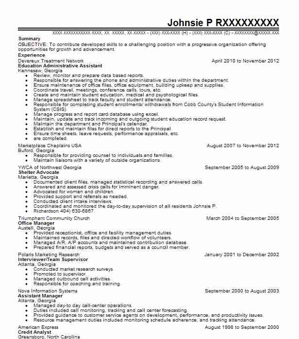 education administrative assistant resume sample