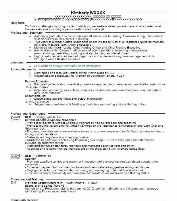 Central Checkout Specialist Cashier Resume Example Heb