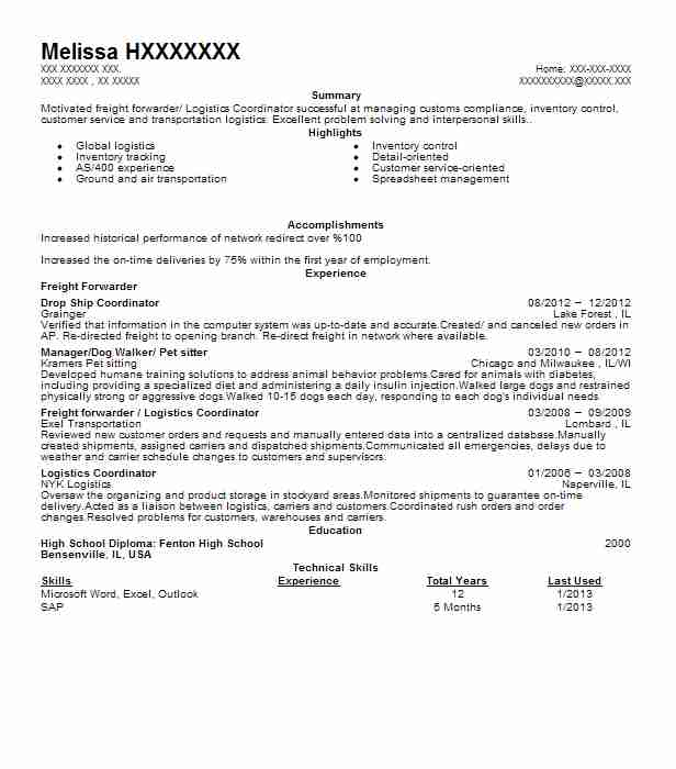 freight forwarder resume example blue water shipping