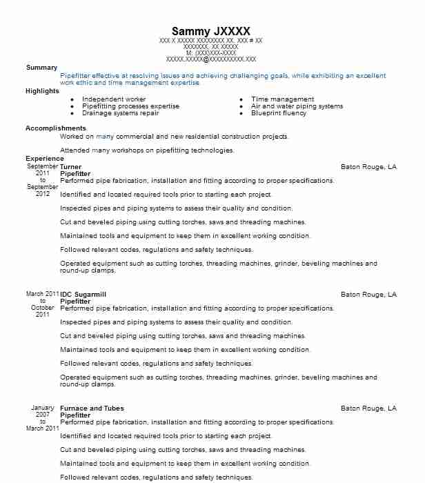Best Pipefitter Resume Example