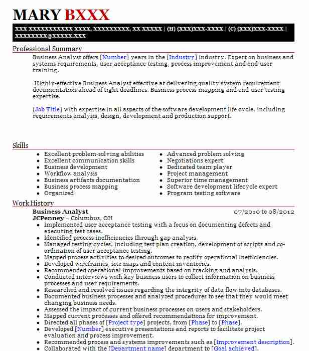 Business Analyst Resume Example (Jcpenney) - Blacklick, Ohio