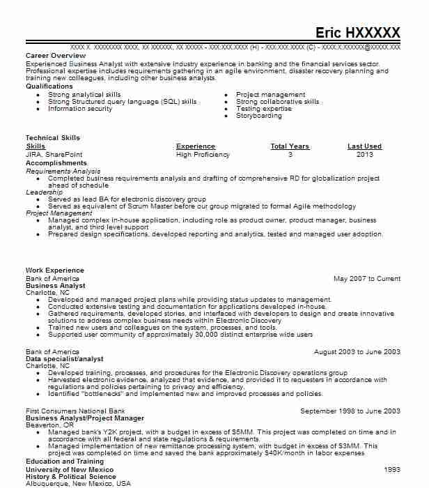 Business Analyst Resume Example (Bank Of America) - La Center ...