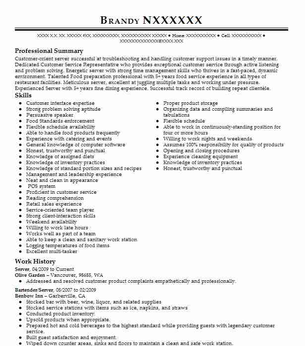 call center resume examples food and beverage resumes livecareer