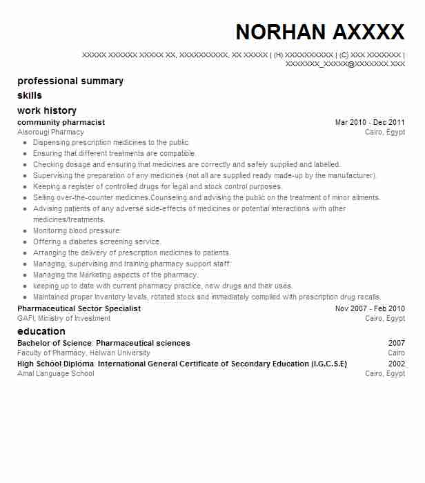 Hospital Pharmacist Resume Sample: Community Pharmacist Resume Sample