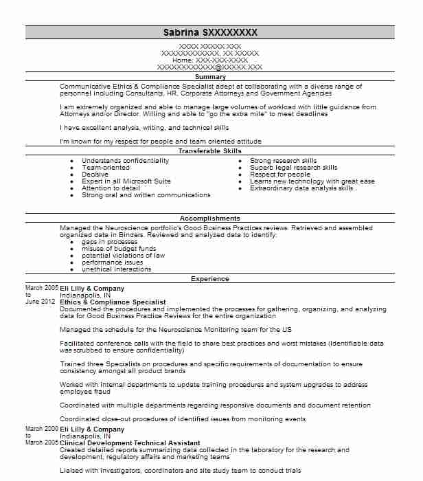 Ethics And Compliance Specialist Resume Example Navex