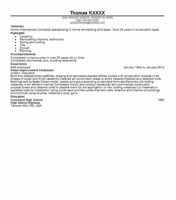 self employed home improvement contractor resume example g