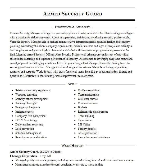 Armed Guard Supervisor Resume Example Chief Protective