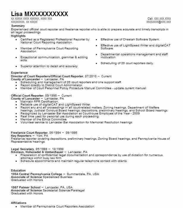 Director Of Court Reportersofficial Court Reporter Resume Example
