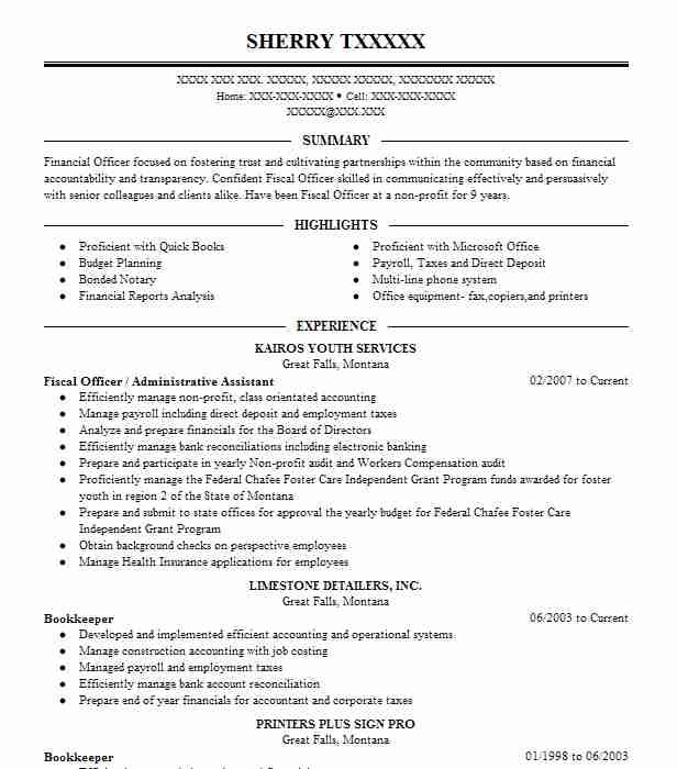 fiscal officer administrative assistant - Fiscal Officer Sample Resume