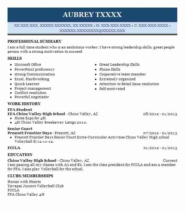 high school agriculture student  ffa member resume example