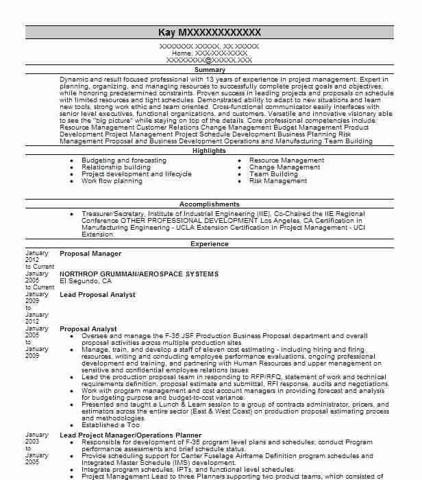 rfp manager resume