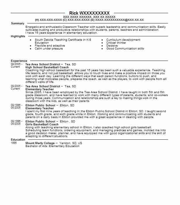 high school basketball coach resume sample