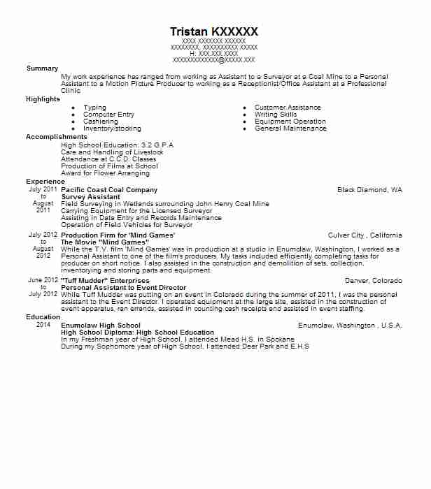 Survey Assistant Resume Sample Assistant Resumes Livecareer