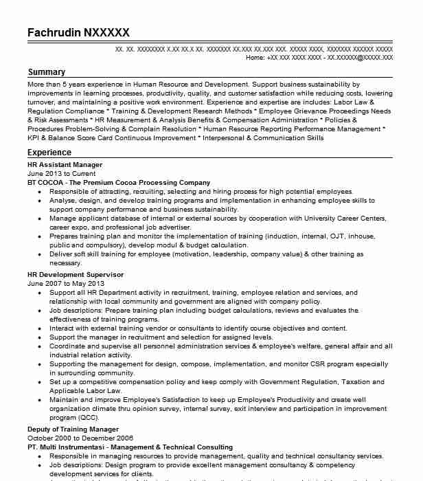 hr assistant manager resume example nsk corporation