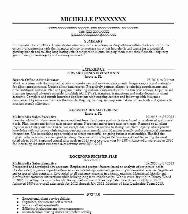 Branch Office Administrator  Skills For Retail Resume