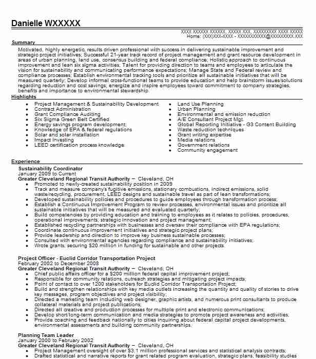 sustainability coordinator resume sample