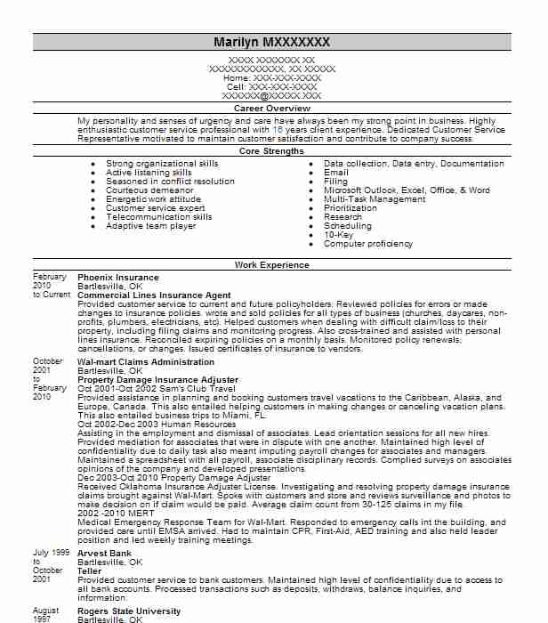 commercial lines insurance underwriter resume example
