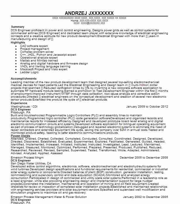 Dcs Engineer Resume Sample Technical Resumes Livecareer