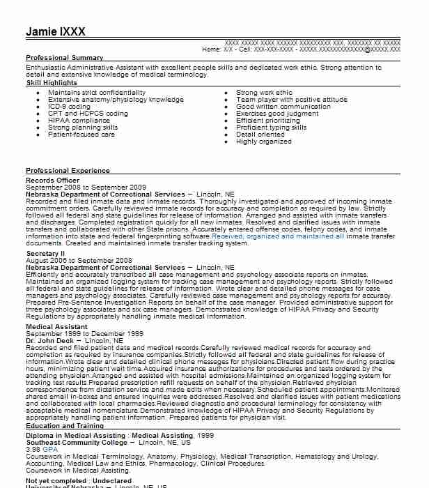 records officer resume sample
