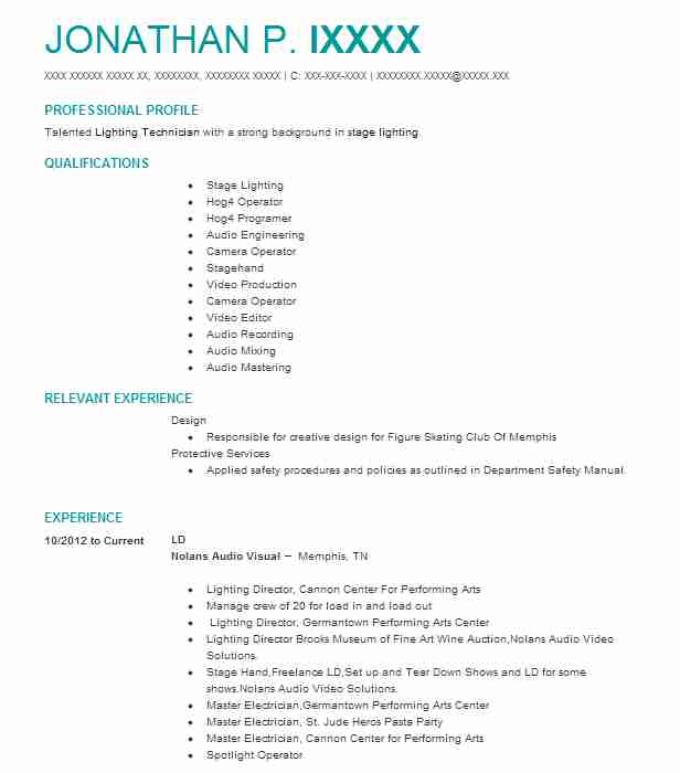 694 Stage Design Resume Examples Performing Arts Resumes LiveCareer