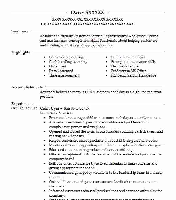 front desk associate resume example equinox