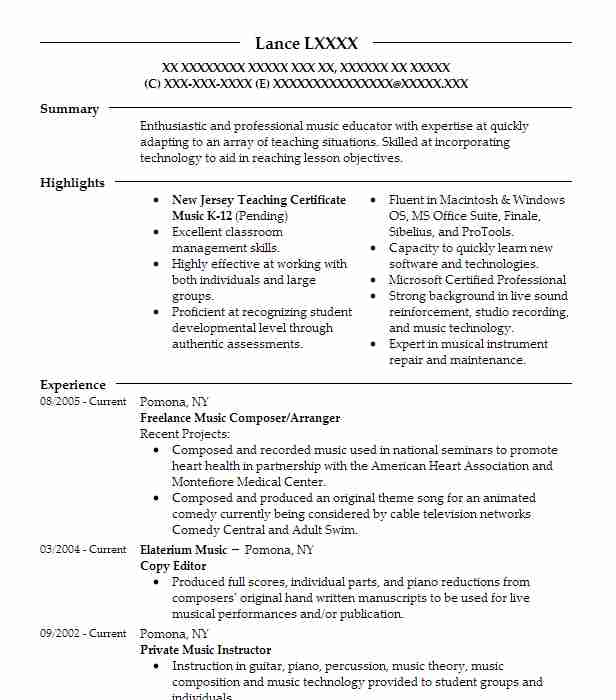 Freelance Music Composer Resume Example The Aquadice