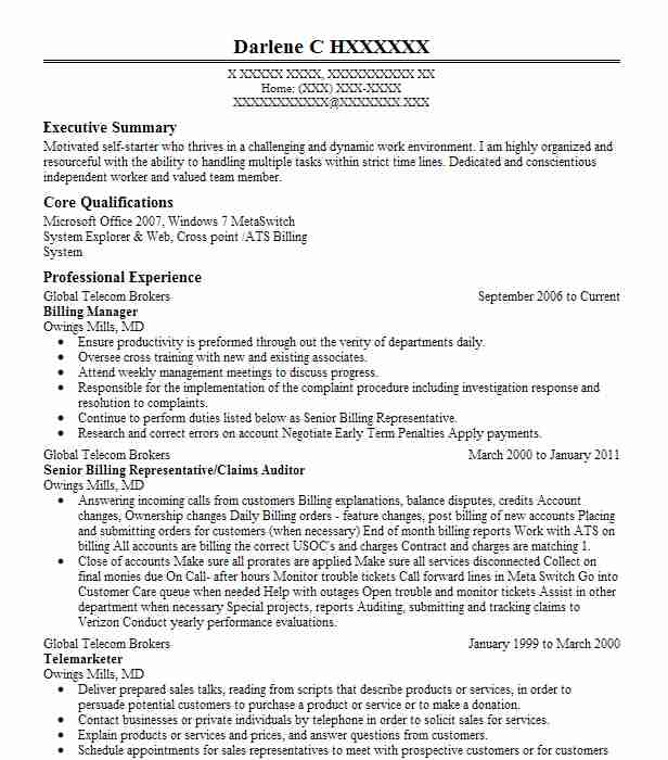 billing manager resume sample