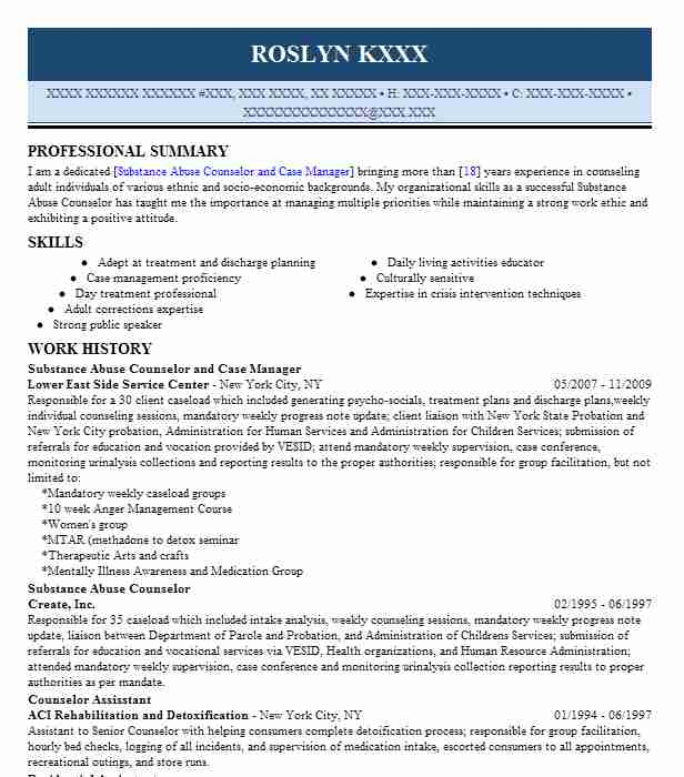 substance abuse counselor  case manager resume example twin