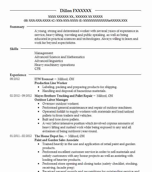 production line worker resume sample