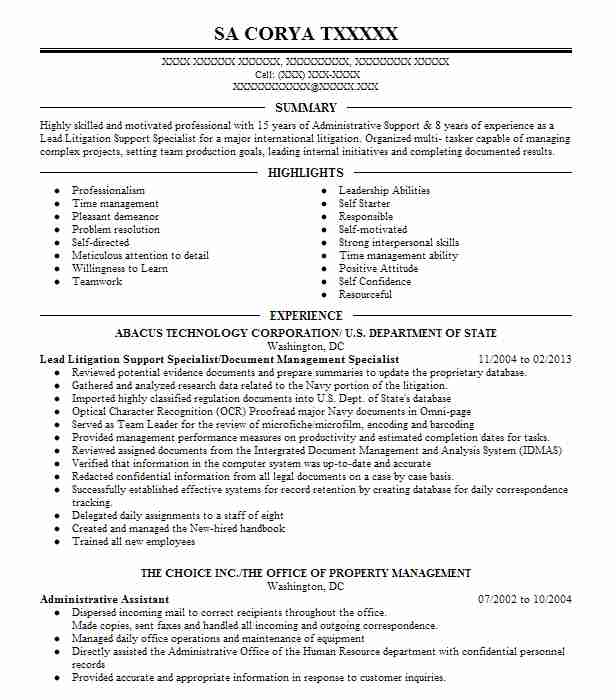 Find Resume Examples in Brentwood, MD | LiveCareer