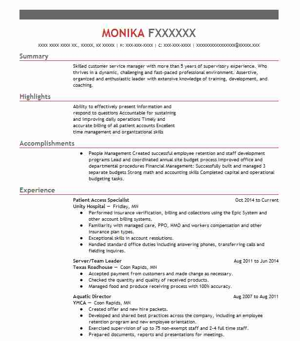 patient access specialist resume sample