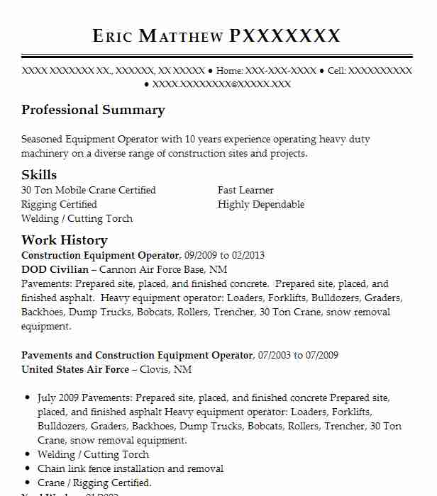 construction equipment operator resume sample