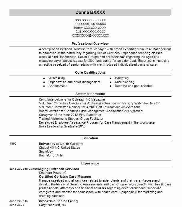 aging care manager  gertified gerontologist  resume