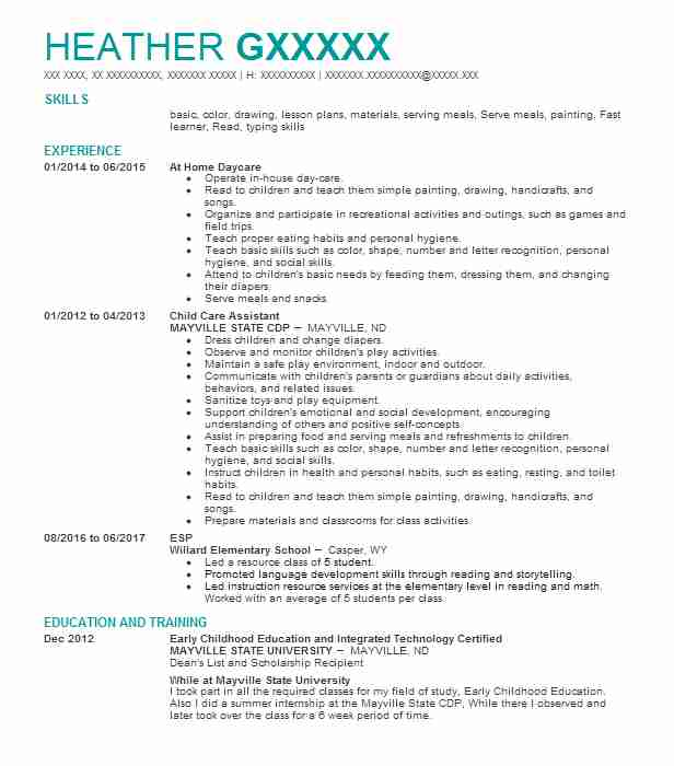 child care assistant resume sample