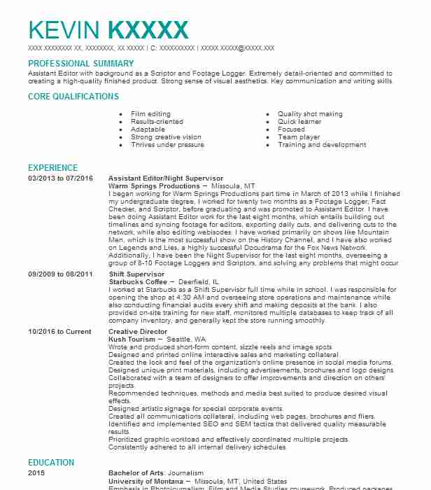 Top Editing Resume  Film Editor Resume