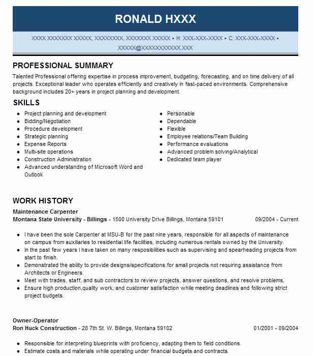 maintenance carpenter resume sample