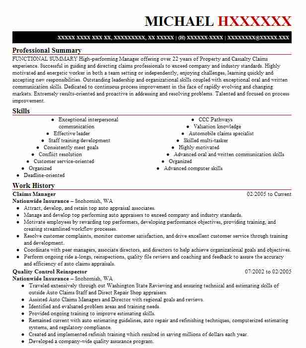 Claims Manager Resume Sample Manager Resumes Livecareer