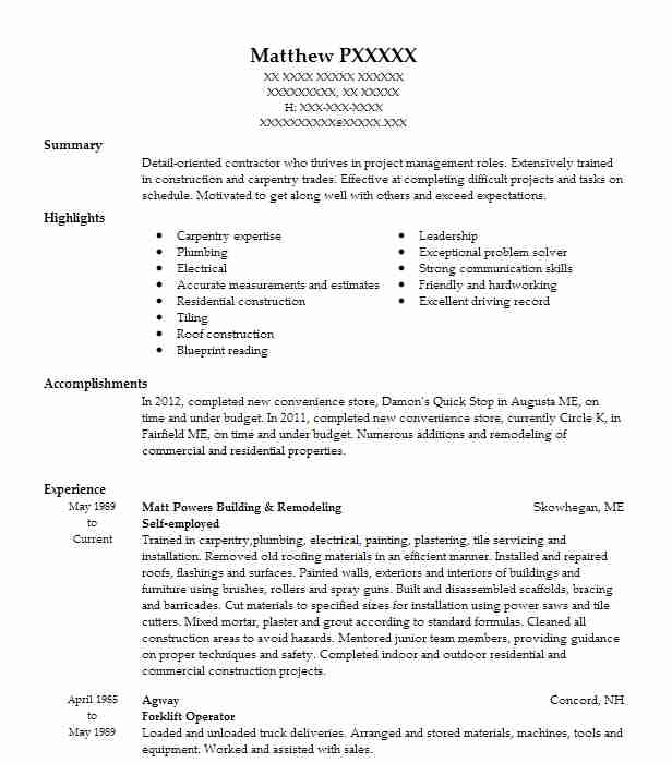 self employed carpenter resume example down home