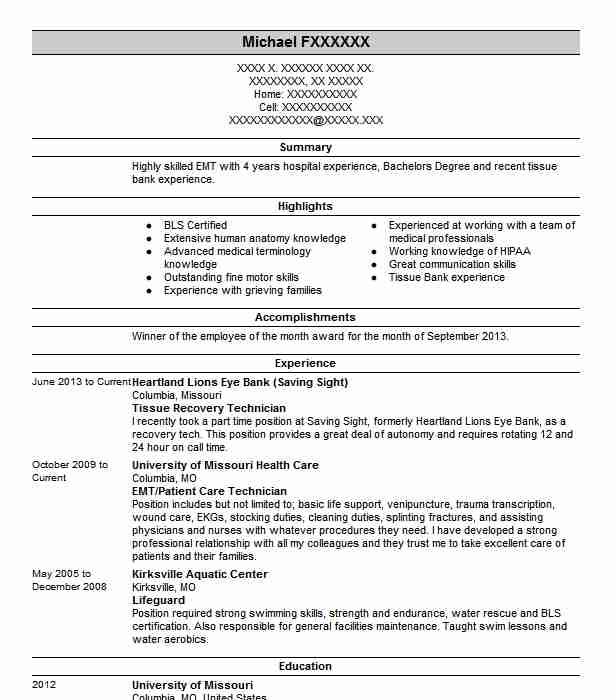 tissue recovery technician resume example donor network of