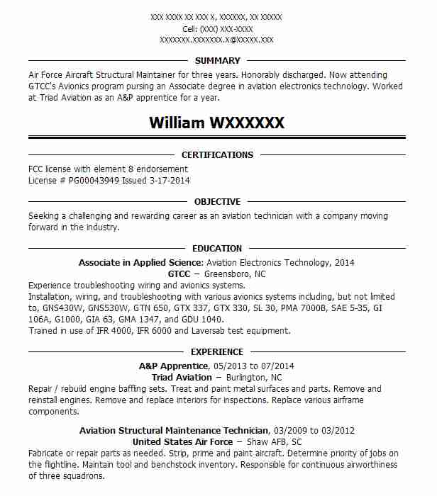 Student Amt A P Resume Example Aviation Institute Of