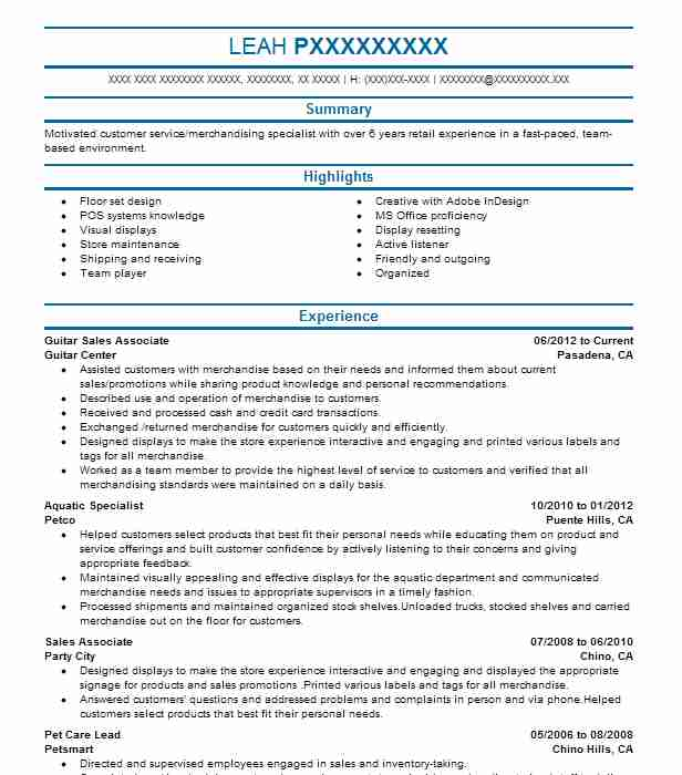 guitar sales associate resume example guitar center